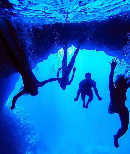 Friends swimming in the Blue Cave of Bisevo islands (part2)