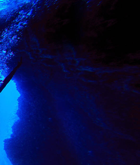 Friends swimming in the Blue Cave of Bisevo islands (part3)