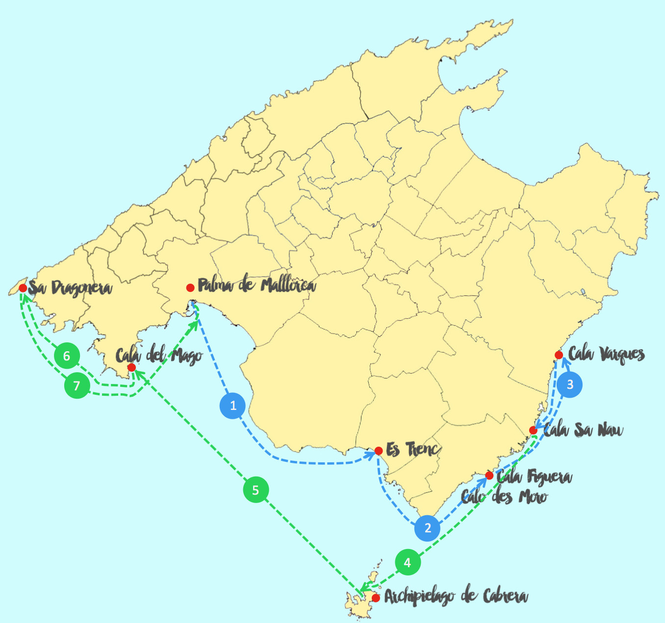 Map of the sailing route aroung the south coast of Majorca